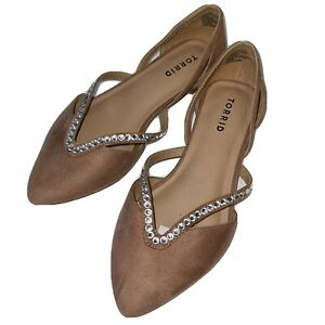 Torrid Pointed Toe Flats Nude Suede Rhinestones Shoes Size 7.5 Wide