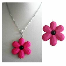 Daisy Flower Necklace - Daisy Necklace - Pink Necklace - Flower Power - FREEPOST
