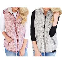 Women Casual Sherpa Fleece Zipper Vest with Pockets Warm Sleeveless Coat Jacket