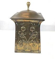 Antique Arts & Crafts William Morris Style Brass Coal Bucket & Cover 52cm High