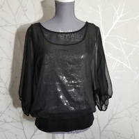 Ann Taylor Women's Sheer Black Blouse w/ Sequined Slip | Size L | Puffed Sleeves