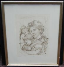 "Edna Hibel ""Italian Mother & Baby"" Signed Etching Print 20x17"" LE #55/150 B3976"