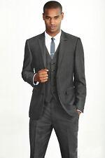 Men Dark Gray Designer Wedding Grooms Tuxedo Dinner Suit (Jacket+Vest+Pants)