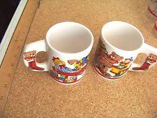 Two Christmas porcelain coffee mugs cups  holiday teddy bear mug cup