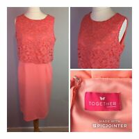 Together Size 14 Ladies Coral Pink Dress With Lace Detail