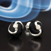 Onyx Silber 925 Ohrringe Damen Schmuck Sterlingsilber S0182