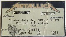 METALLICA - FAN CLUB TICKET STUB PONTIAC MI. 2003