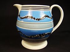 "Mocha Ware Earthworm & Cat's Eye Baluster Form Pitcher 7""h c.1770-1800"