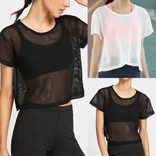 New Summer Women See-through Top Sheer Mesh Fishnet Blouse Short Sleeve T-Shirt