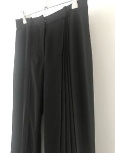 PER UNA Black Wide Leg Tailored Evening Trousers with Vertical Crease Detail UK