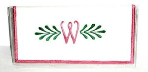 Curly Q Pink Initial W on Cotton&Vinyl Checkbook Cover CW-3 Handmade