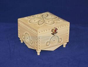 White Wooden Jewelry Box Hand Carved Ukraine Encrustation Real Ukrainian Wood