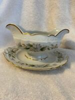 Embassy Vitrified - USA - Dogwood gravy boat with attached base - gold trim