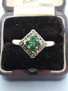 "9ct Yellow Gold "" Emerald & Diamond"" Ring"