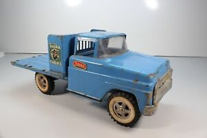 Tonka Farms 1962 Flat Bed Stake Truck Blue Pressed Steel Vintage Toy ...C11