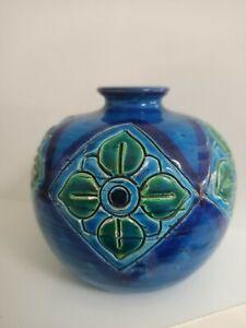 Vintage Retro Mid Century Blue FLAVIA ITALY Pottery Vase - Bitossi
