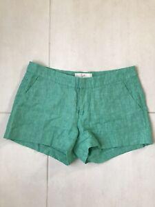 Joie Women Sz 2 Shorts Green Linen Pockets Flat Front Mid Rise