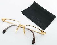 CAZAL Brille 765 Col. 973 Vintage Half-Rim Eye Frame Gold Stripes Cari Zalloni