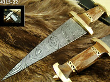 "12"" ALISTAR HANDMADE DAMASCUS STEEL DOUBLE EDGE HUNTING DAGGER KNIFE (4315-22"