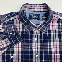 Nautica Button Up Shirt Mens XXL Blue Plaid Long Sleeve Casual