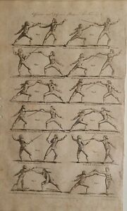 c1797 DATED ANTIQUE PRINT FENCING VARIOUS POSITIONS OFFENSIVE DEFENSIVE
