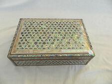 "Egyptian Paua Shell Wood Inlaid Star Jewelry Box Handmade 12"" X 8.25""  #16107 !!"