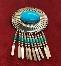 Vintage Sterling Silver Brooch Pin 925 Pendant Southwest Turquoise QT signed