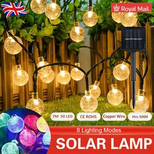 50 LED Solar Round Globe Garden Light String Christmas Tree Party Lights  7M