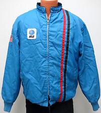 vtg AT&T 70s Blue Racing Jacket LARGE Fleece Lining phone telecom USA Flag Men L