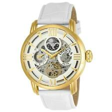Invicta Objet D Art Automatic 47mm Silver Mens White Leather Watch 22652