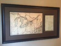 War of 1812 Enlistment Document Framed Display, Revolutionary War, Eliot, ME