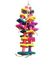 Wooden Parrot Chew Toy Pet Birds Colorful Wood Blocks Hanging Wavy Swing Toys