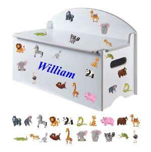 Boy or Girls Name (300mm) + Mix Of 20 Cartoon Wild Animals Stickers for Toy Box