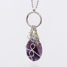 Amethyst Wire Wrapped Pendant Om Buddha Charm Necklace Silver