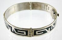 Vintage Taxco Mexico Sterling Silver Link Bracelet 925 TC-49 Chip Stone Inlay