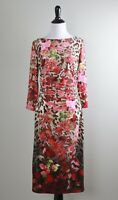 BOSTON PROPER $109 Slinky Stretch Mixed Leopard Floral Shirred Dress Size 8