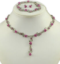 SILVER TONE PINK METAL ROSE NECKLACE, BRACELET & EARRINGS SET
