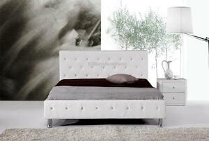 #4008 Gorgeous Modern Queen Size White PU Leather bed with crystal details