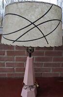 "Vintage Mid Century FIBERGLASS LAMP SHADE 17"" Black Swirl Diameter -Damaged"