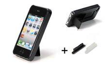 Cover per iPHONE 4 e 4S in policarbonato nero con STAND a scoparsa