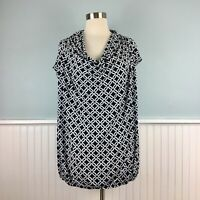 Size 3X Michael Kors Black & White Drape Neck Shirt Top Blouse Women's Plus