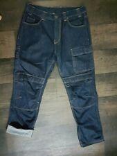 Mens Cargo Jeans Hip Hop Denim Street Style Dark Blue W38 L33