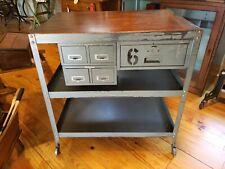 Vintage Industrial Table Kitchen Island Workbench Steel Factory Desk Bar Cart