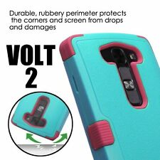 For LG Volt 2 LS751 -HARD&SOFT RUBBER HYBRID SKIN CASE TURQUOISE BLUE PINK ARMOR