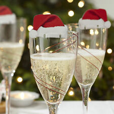 10pcs Champagne Wine Glass Caps Christmas Holiday Party Decorations Xmas Hats