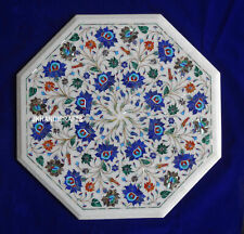 "18"" Marble Coffee Table Top Lapis Precious Inlay Beautiful Hallway Decor"