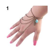 Womens Diamante Slave Chain Finger Ring Bangle Hand Harness Bracelet Beach Boho