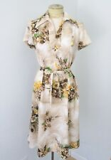 796ac8c91f3 Vtg 70s Sears Mod Brown Yellow Floral Poly Knit Fit Flare Dress Tie Belt M