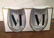 Home essentials Monogram M~ Stemless Wine Glass 19oz ~ Gift ~