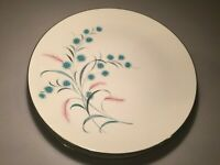 "Vintage Canonsburg ""Citation"" Set (4) Dinner Plates-Pink-Turquoise Flowers MCM"